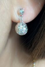 18k Solid White Gold Cute Two Balls Dangle Stud Earrings, Diamond Cut1.90Grams