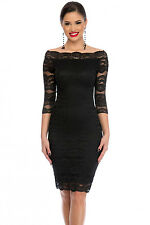 Black Lace Off Shoulder Midi Dress Evening Wear Size UK 8-10