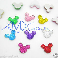 40pcs Mixed 14mm Flat Back Mickey Minnie Mouse Head Resin Rhinestones Craft Gems