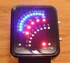 Mens Ladies Black Steel Rubber 80s Vintage Retro Style LED Arch Binary Watch