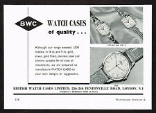 1950's Vintage 1956 BWC Cases - Trebex Watch Watches - Paper Print AD