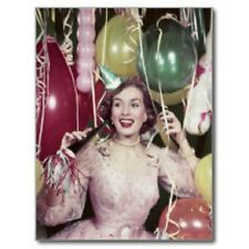 """*Postcard-Happy New Year-""""Lady Celebrating New Years Eve""""...w/Hat*Horn*Whistle-"""