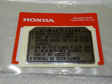 HONDA  AIR CLEANER CAUTION DECAL CT 70 90 110 SL70 NA NC NQ NU NX PA 50 XL 75 80