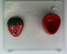 LARGE STRAWBERRY LID & POUR BOX CLEAR PLASTIC CHOCOLATE CANDY MOLD AO090