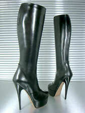 MORI ITALY PLATFORM HEEL KNEE HIGH BOOTS STIEFEL STIVALI LEATHER BLACK NERO 37