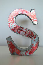 MEDIUM VINTAGE STYLE 3D RED S SHOP SIGN LETTER TIN WALL ART LETTER FONT