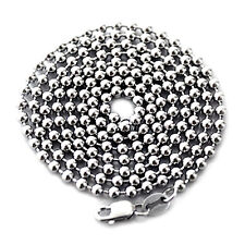 "LONG 28"" SOLID STERLING SILVER 925 BEADED NECKLACE 3MM BALL CHAIN MADE IN ITALY"