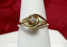 10K YELLOW GOLD DIAMOND SWIRL LOVE FASHION RING SIZE 7