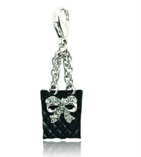 SILVER PLATED BLACK CRYSTAL BOW HANDBAG CLIP ON CHARM