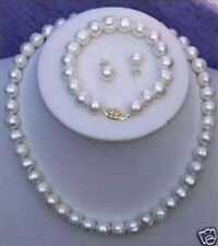 9-10mm White Cultured Pearl Necklace Bracelet Earring Set AAA