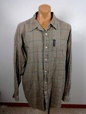 ENYCE MENS KHAKI PLAID COTTON SHIRT SIZE XXL BUTTON DOWN