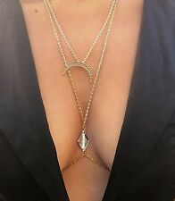 "Select Jewelry Waist neck Gold Chain crescent Harness Slave Necklace 40"" J131"