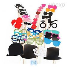 44pcs Birthday Party Wedding Props Mask Moustache Photo Booth Stick Photography