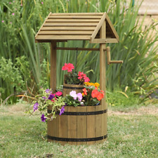 Wooden Wishing Well Garden Display Planter Pot Floral Feature Outdoor Wood