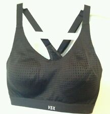 BNWT Victoria's Secret VSX Sport Black Cross strap Exercise Bra Top 34B support