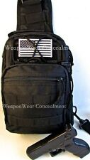 HEAVY DUTY Tactical SLING Go Bag Gun Concealment Bug Out Gear Bag Holster BLACK