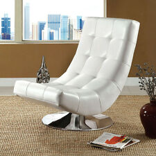 Modern White Bycast Leather Upholstered Chrome Metal Base Swivel Accent Chair