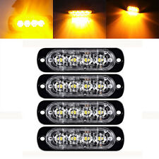 4X Amber 4 LED Flash Truck Emergency Beacon Light Bar Hazard Strobe Warning PP