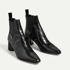 ZARA BLACK EMBOSSED MID HEEL LEATHER ANKLE BOOTS UK 6 EU 39 USA 8