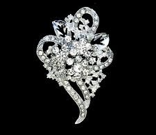 APRIL BIRTHSTONE WHITE CRYSTAL FLOWER CORSAGE SILVER BROOCH PIN GIFT FOR WOMEN