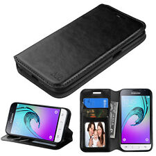 For Samsung GALAXY AMP 2 / J1 Leather Flip Wallet Case Cover Stand Pouch Black