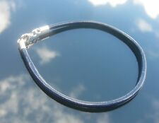 Genuine Navy Leather 3mm Cord Bracelet with 925 Sterling Silver Ends and Clasp