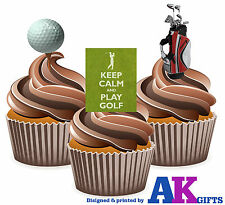 Golf Golfing Mens Ladies Birthday Party 12 Cup Cake Toppers Edible Decorations