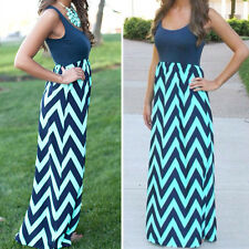 New Women Boho Casual Maxi Striped Zigzag Summer Ladies Party Beach Long Dresses