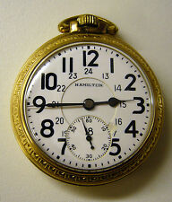1950 Hamilton Railway Grade Cdn Dial Open face Pocket Watch 16s 21j 10K GF 992B
