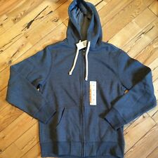 NWT Mens EDDIE BAUER Dark Grey Fleece Lined Zip Up Hoodie Sweatshirt Medium M