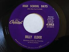 "Billy Elder - High School Days / How Lonely Am I 7"" Capitol Records 45 RPM Vinyl"