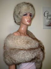 GENUINE VINTAGE REAL BLUE FOX FUR STOLE WRAP SHAWL FOR COAT ARCTIC SILVER VOLPE