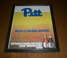 PITT PANTHERS & IRON CITY BEER FRAMED COLOR PRINT AD