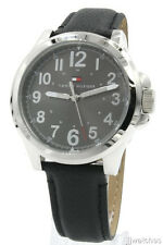 New Tommy Hilfiger Steel Case Black Leather Band Men Dress Watch 45mm 1791150