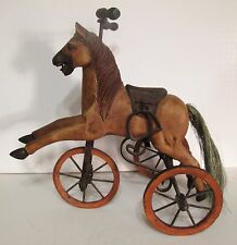 "Antique Miniture Hand Carved Wooden Horse Tricycle 14"" Long 14 1/2"" Tall"
