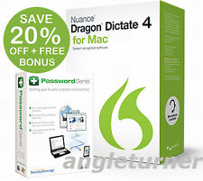 Nuance DRAGON DICTATE 4.0 Version 4 Mac Plantronics USB Headset +D0WNL0AD Option