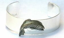 Rainbow Trout Bracelet Bangle Silver Plate and Pewter Fishing Gift Boxed NEW