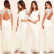 BACKLESS CREAM EMBROIDERED LACE BACKLESS FORMAL MAXI LULU DRESS SIZE XS