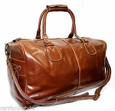 CHESTNUT BROWN PREMIUM LEATHER LARGE HOLDALL TRAVEL SPORTS WEEKEND CARRIER BAG