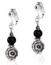 ClipOn Dangle Fashion Earrings Black Onyx Antiqued Silver Flower GraceOfNewYork