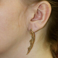 18kt Yellow Solid Gold Diamond Pave Designer Fashion New Dangle Earrings Jewelry