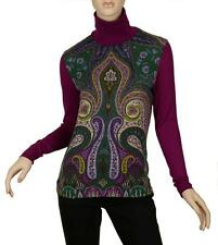 NEW ETRO MILANO CHIC PAISLEY LANA WOOL COTTON STRETCH TURTLENECK SWEATER 44/10