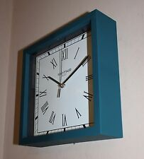 Square Matt Teal / Blue Roman Numeral Wall Desk or Mantle Clock 23cm