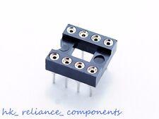 8P IC Sockets Brass Inserts Round Pin DIL8 8 Pins, x10 pcs