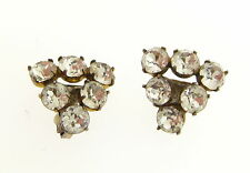 Estate Sterling Silver Gold Wash Victorian Rhinestone Triangle Clip On Earrings
