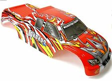 08306 RC Nitro Escala 1/8 Monster Truck Body Shell cubrir Rojo Flame Corte