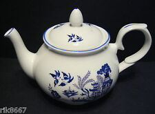Willow Pattern 4 Cup English Fine Bone China Tea Pot By Milton China (print a)