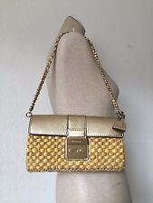 Michael Kors Pale Gold Leather Straw Gabriella Large Clutch Shoulder Bag NWT