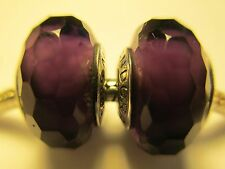 Set 2 Authentic Pandora Silver 925 Fascinating Purple Glass Bead Charm New