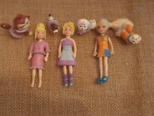 Polly Pocket Lot Three Dolls with Pets - Doll & Pets matching Dog Cat C60